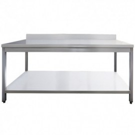 TABLE INOX AISI 201 ADOSSEE + ETAGERE